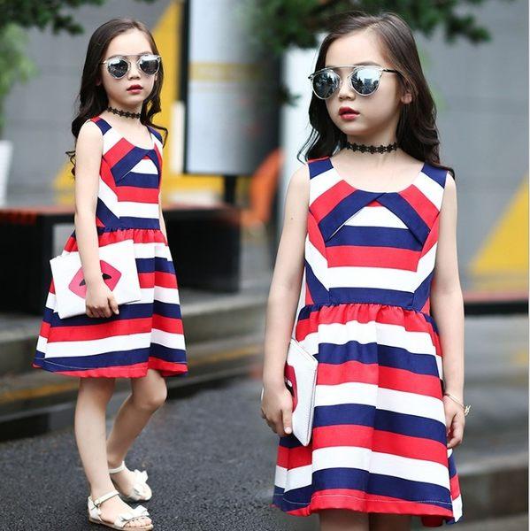 衣童趣 ♥中大女童 韓版 撞色條紋 無袖 時尚連身洋裝