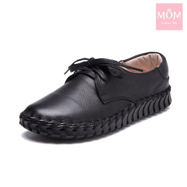 全真皮手工縫線超軟底綁帶經典休閒駕車鞋 黑 *MOM*