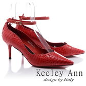 ★2018春夏★Keeley Ann韓式風潮~蛇紋波浪造型細帶飾釦真皮高跟鞋(紅色) -Ann系列