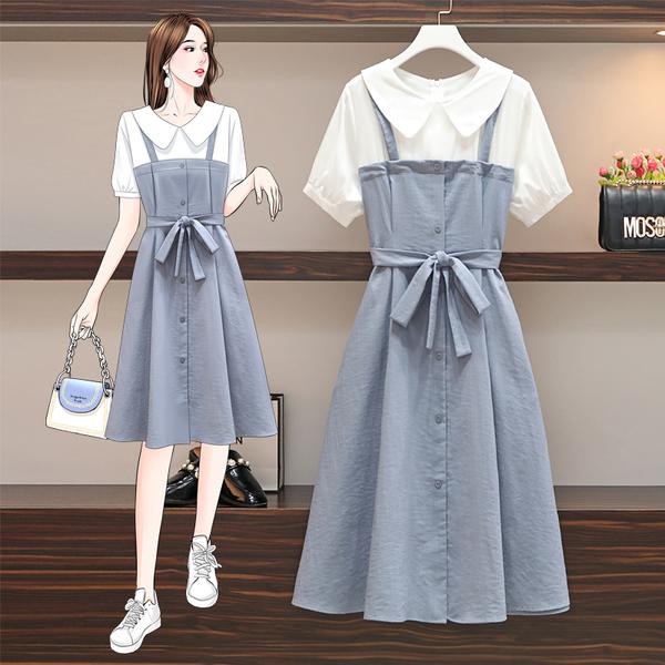 VK精品服飾 韓系名媛襯衫拼接單排釦細肩帶收腰短袖洋裝