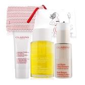 CLARINS 克蘭詩 美胸霜+纖體護理油+去角質霜+化妝包美體組