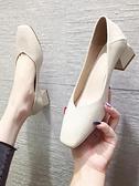 單鞋女ins潮奶奶鞋新款方頭粗跟軟皮女鞋百搭黑色中跟晚晚鞋 格蘭小鋪