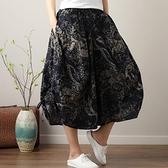 中大尺碼 休閒女褲 大碼女裝文藝復古2021年夏季新款棉麻胖妹妹寬鬆印花寬鬆闊腿裙褲