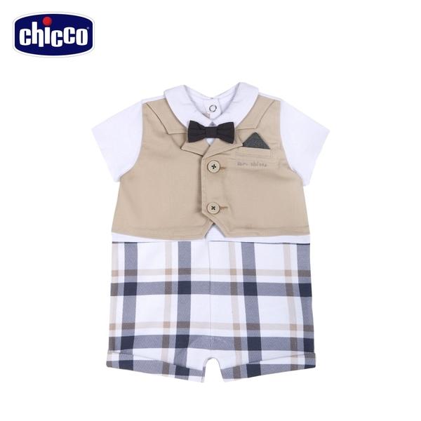 chicco-皇家小象-西裝背心式大格紋短袖兔裝