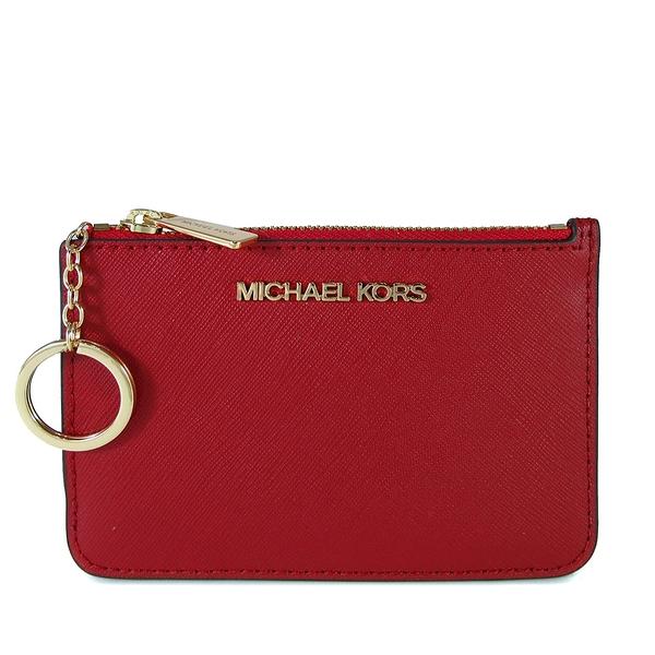 MICHAEL KORS 金字LOGO防刮皮革卡片夾層鑰匙零錢包(紅色)-35F7GTVU1L