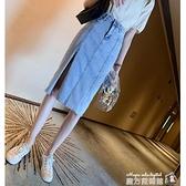 牛仔半身裙女夏裝新款時尚高腰顯瘦a字裙中長款開叉包臀裙潮 蘇菲小店