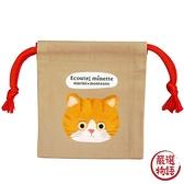 【日本製】【ECOUTE!】貓咪系列 迷你束口袋 棕白虎斑貓圖案(一組:3個) SD-3942 - ecoute!