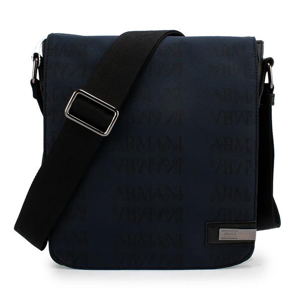 ARMANI COLLEZIONI 滿版LOGO掀蓋式斜背包(藍色)102301-1