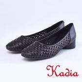 kadia.編織縷空牛皮包鞋(9006-90黑色)