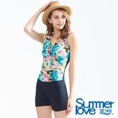 【Summer Love 夏之戀】加大碼連身印花四角泳衣(S18716)