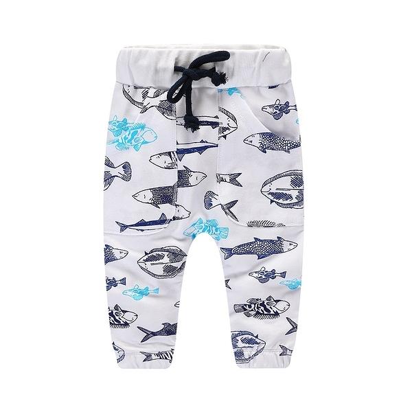 男Baby男童純棉長褲白色魚兒印花休閒褲運動褲現貨歐美品質