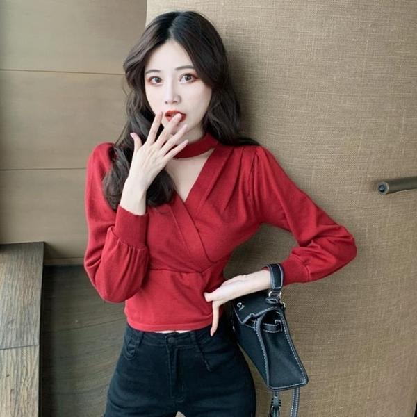 特價限購 打底衫新款韓版小心機掛脖V領長袖收腰顯瘦百搭針織衫上衣女