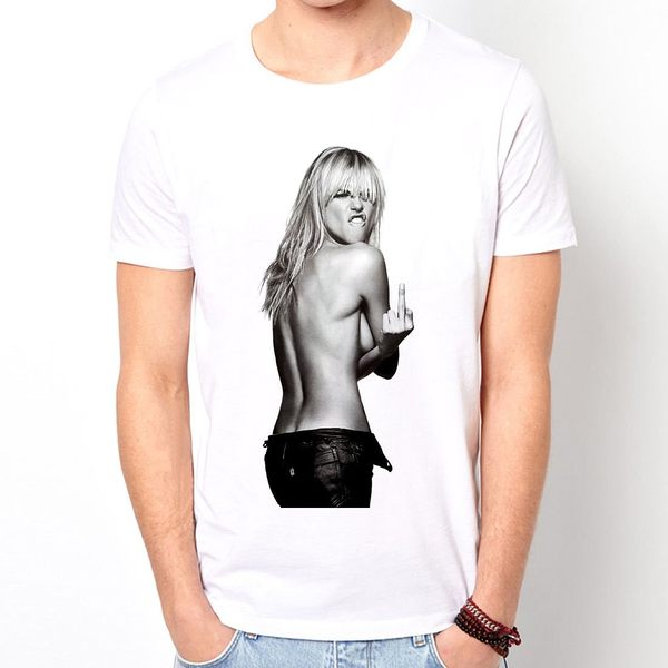 Kate Moss Finger短袖T恤-白色 人物相片幽默搖滾設計插畫裸女潮流情色樂團玩翻