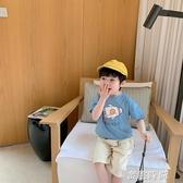 棉小班童裝男童t恤短袖2020年夏季薄款兒童汽車印花休閒體恤上衣 『蜜桃時尚』