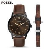 FOSSIL MINIMALIST 棕色皮革極薄款手錶和手環套組 男FS5557SET