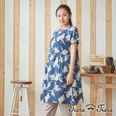 【Tiara Tiara】百貨同步 純棉傘裙擺印花短袖洋裝 (藍/橘)
