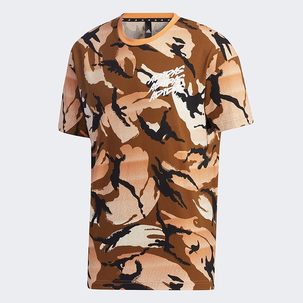 Adidas M DESERT CAMO AOP 男裝 短袖 T恤 迷彩 筆刷LOGO 橘【運動世界】GP0884