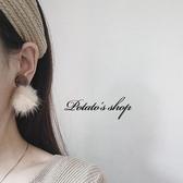 耳環冬季新款毛毛球耳環女 白色水貂毛復古氣質短款耳釘耳飾耳墜