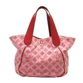 LOUIS VUITTON LV 路易威登 粉X紅logo帆布牛皮手提肩背包(附拉鍊小袋) M95984
