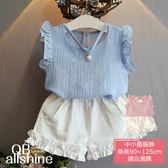 女童套裝 荷葉飛鼠袖珍珠項鍊雪紡衫+休閒短褲 兩件式 QB allshine