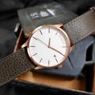 MVMT / D-MM01-RGGR / 日期視窗 礦石強化玻璃 真皮手錶 白x玫瑰金框x深褐 45mm