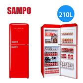 【佳麗寶】【來電享加碼折扣】SAMPO 聲寶 210公升 雙門變頻冰箱SR-C21D(R) 緋麗紅