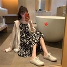 碎花連衣裙夏 2021夏新款大碼女裝胖mm妹妹顯瘦減齡防曬衣兩件套裝吊帶連衣裙子 設計師