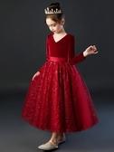 女童圣誕節秋冬洋氣小女孩紗裙生日兒童公主裙花童禮服裙冬款加絨