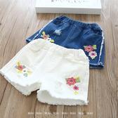 韓版女童短褲。ROUROU童裝。夏女童中小童繡花破洞牛仔短褲 0222-272