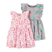 美國Carter's卡特童裝 女寶寶 無袖裙子(2入)&內褲 粉葉子【CA121I181】