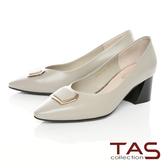 TAS方形金屬飾釦拼接粗跟鞋-薄荷綠