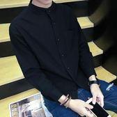 純色休閒長袖襯衫男韓版寬鬆百搭薄款防曬外套學生棉麻立領襯衣潮    西城故事