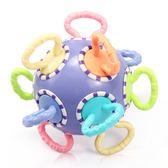 嬰兒手抓球扣洞玩具球類觸覺感知球6-12個月益智可啃咬牙膠手搖鈴 快速出貨 全館八折