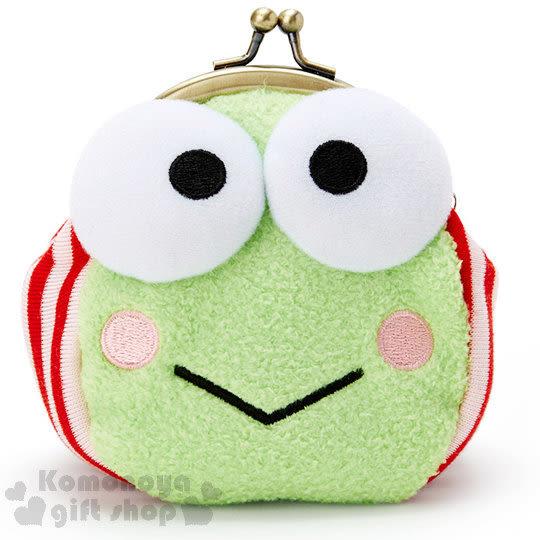 〔小禮堂〕大眼蛙 造型絨毛口金零錢包《綠.白底紅直條.大臉》 4548643-10236