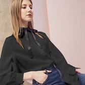 【SHOWCASE】氣質簡約綁帶荷葉拋袖造型素面雪紡襯衫(黑)