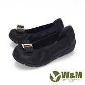【南紡購物中心】W&M(女) 蝴蝶閃亮 舒適厚底娃娃鞋-黑(另有藍)