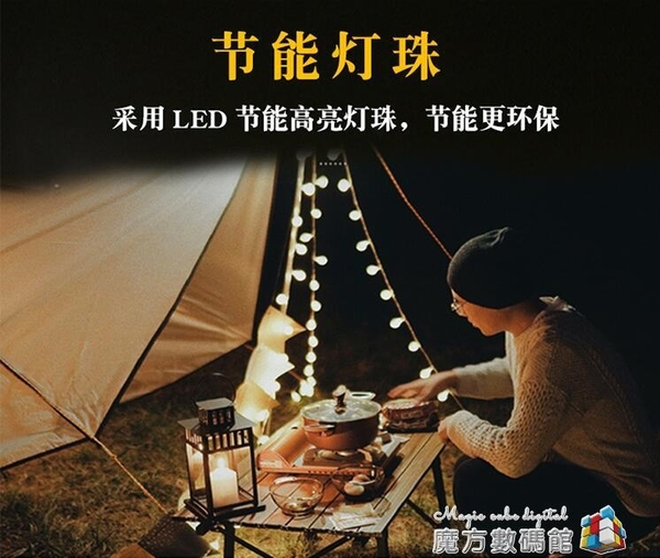 TUSIN 戶外露營LED氛圍燈帳篷照明裝飾燈派對USB接頭充電寶小燈串 魔方數碼