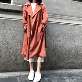 風衣 焦糖色中長款韓版雙排扣系帶外套