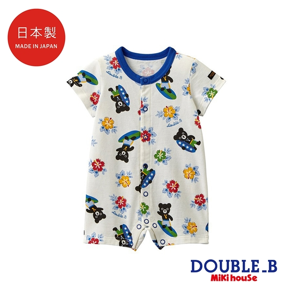 DOUBLE_B 日本製 黑熊星星短袖連身服