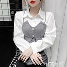 收腰襯衫韓版復古氣質收腰顯瘦拼接吊帶假兩件長袖襯衫女設計感小眾上衣潮 雲朵走走