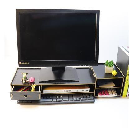 電腦螢幕架臺式電腦顯示器屏幕增高架辦公桌面收納盒抽屜式置物架鍵盤架子     color shopYYP