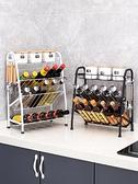 廚房置物架 調味料置物架廚房用品家用黑色臺面儲物架多功能油鹽醬醋收納架子