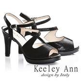 ★零碼出清★Keeley Ann焦點女伶~雅緻S形流線設計全真皮高跟魚口涼鞋(黑色)
