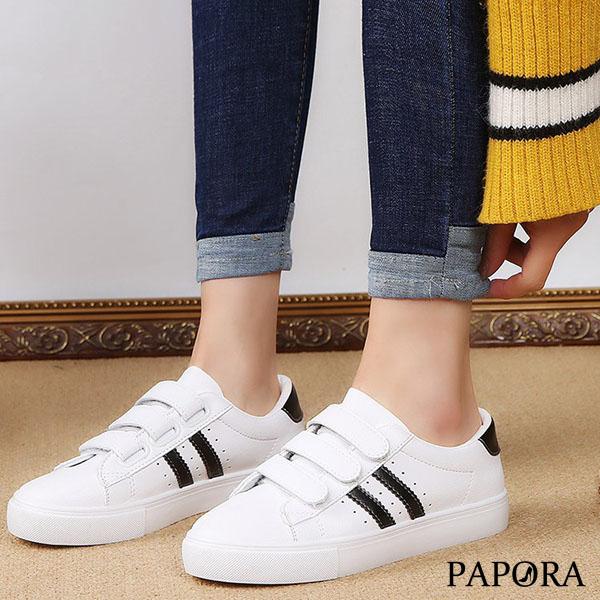 PAPORA三條魔鬼氈休閒平底PU小白鞋帆布鞋K8039黑/粉(偏小)