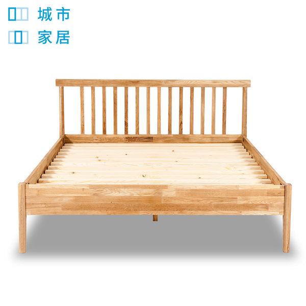 【城市家居-綠的傢俱集團】雙人橡木實木床架
