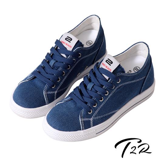 【韓國T2R】百搭帆布隱形氣墊增高鞋 7CM 丹寧藍 (5600-0257)
