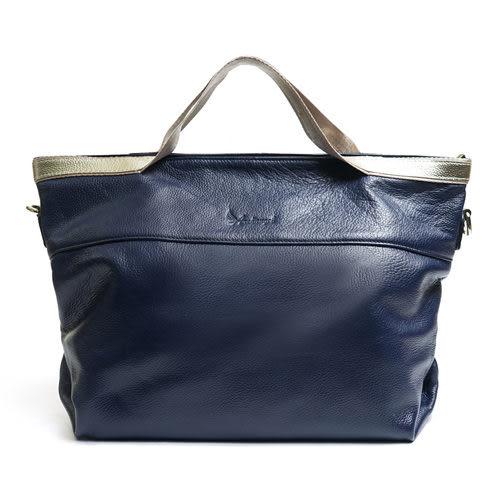 阿卡天使時尚金邊個性手提肩揹真皮包-內斂藍B529-BL