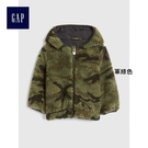Gap男嬰兒 刷毛保暖長袖連帽上衣 399573-軍綠色