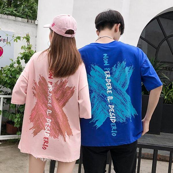 情侶裝T 不一樣的同色系情侶裝夏裝2019新款正韓原宿BF風短袖t恤女【週年慶免運八折】