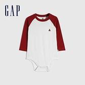 Gap嬰兒 棉質撞色插肩袖長袖包屁衣 663869-白色